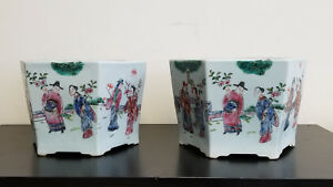 Pair Chinese Famille Rose Jardinieres Octagonal Porcelain Planters