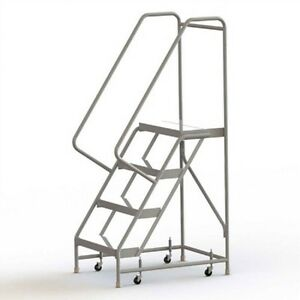 New 4 Step Aluminum Rolling Ladder 24 w Ribbed Tread 28 d Top Step 32 Handrail