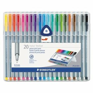 Staedtler Std334sb20a6 Triplus Fineliner Pens 3mm Metal Clad Tip Pack Of 20