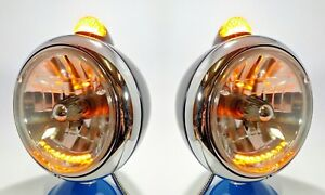 Pair Guide Style Black Headlamp Buckets Led Amber Turn Signal Lights