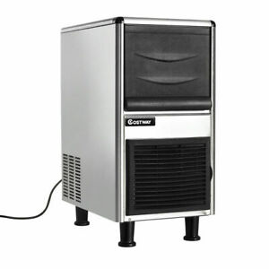 Stainless Steel Commercial Ice Maker 110lbs 24h Freestanding Restaurant Bar
