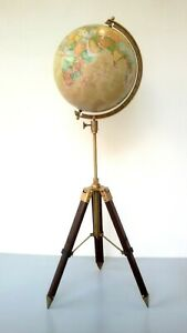 Nautical Antique Replica World Globe With Metal Tripod Stand Decorative Gift