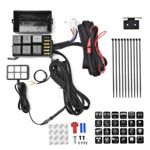 12v 6 gang Touch Switch Panel 40amp Relay Fuse Circuit Control Box Universal