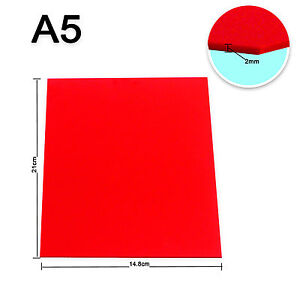 1pc Red Acrylic Sheet Plexiglass Perspex 2mm Thick 148mm X 210mm A5 Size