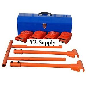 New Machinery Mover Kit 4 2000 Lb Movers 2 36 Handles Toolbox