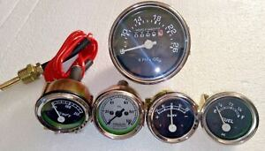 David Brown Tractor Tachometer Temp Oil Pressure Amp Fuel Gauge Chrome Bezel