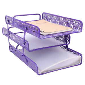 Purple Metal Hollow 3 tier Document Tray Magazine Frame Paper File Holder