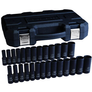 Gearwrench 84949n 27 Pc 1 2 Dr 6 Pt Metric And Sae Deep Impact Socket Set