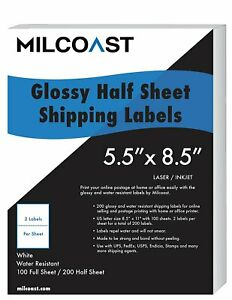 Half Sheet Shipping Labels Glossy Water Resistant 5 5 X 8 5 Ups Fedex Etc