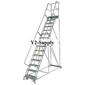 New Perforated 24 w 10 Step Steel Rolling Ladder 14 d Top Step