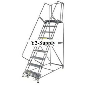 New Perforated 24 w 8 Step Steel Rolling Ladder 14 d Top Step