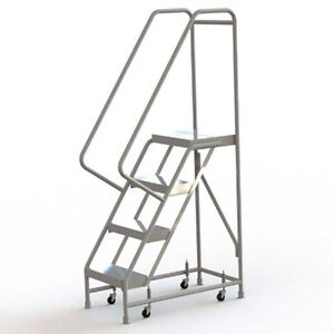 New 4 Step Alum Rolling Ladder 16 w Ribbed Tread 28 d Top Step 32 Handrails