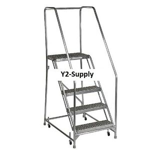 New 5 Step Aluminum Rolling Ladder 24 w Grip Step 30 Handrails