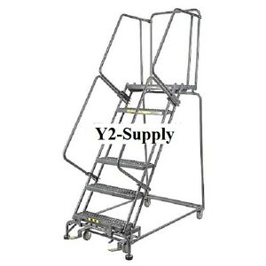 New Perforated 16 w 6 Step Steel Rolling Ladder 14 d Top Step