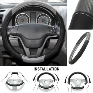 Motor Trend Ergonomic Pu Leather Carbon Fiber Steering Wheel Cover Gray