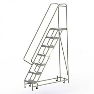 New 7 Step Alum Rolling Ladder 16 w Ribbed Tread 28 d Top Step 32 Handrails