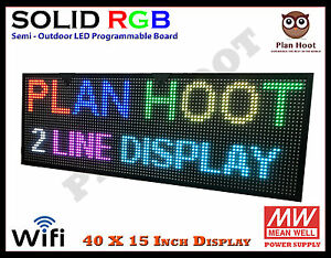 40 x15 Led Rgb 7 Color Wifi Usb Semi Outdoor Indoor Programmable Scrolling Sign