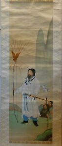 Apanese Watercolor On Silk Painting Scroll Fine Painted Warrior W Long Bow