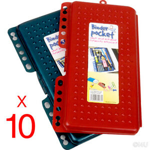 10x Pocket Binder Stationary Organiser W Pencil Case Clips Into Your File Binds