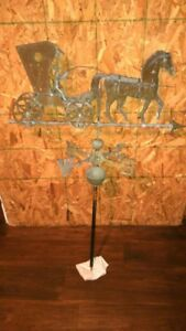 Country Doctor Weathervane Copper Zinc Antique 3d Horse Buggy With Direction
