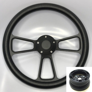 14 Black Billet Steering Wheel W Horn Button 1968 69 Mopar Hub Adapter c02