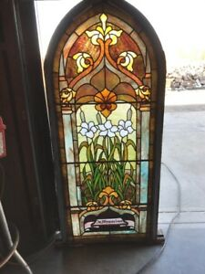 A Rk To Antique Arch Top Stained Glass Window Lilies 24 5 X 57