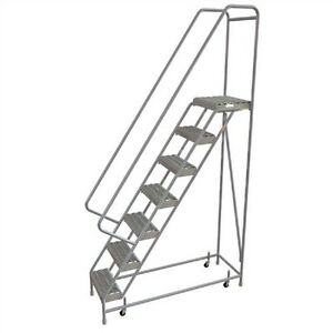 New 7 Step Alum Rolling Ladder 16 w Grip Tread 28 d Top Step 32 Handrails