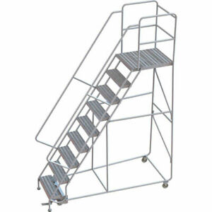 New 9 Step Alum Rolling Ladder 24 w Ribbed Tread 28 d Top Step 32 Handrails