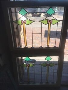 Sg 2189 Match Pair Antique Stained And Leaded Glass Window 24 75 X 28 5