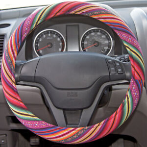 Boho Indian Saddle Blanket Anti Slip Car Steering Wheel Cover Colorful Pattern