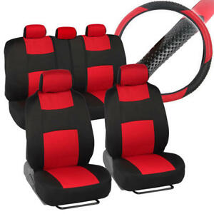 Black Red Complete Fabric Car Seat Cover Set Steering Wheel Cover 10pc