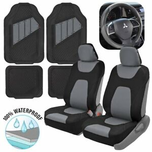 100 Waterproof Sideless Front Seat Covers Rubber Mats Steering Wheel Cover