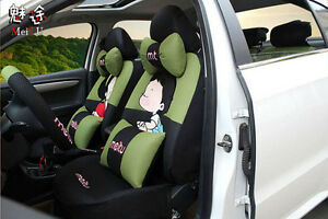 20pcs New 1 Set Female Cute Cartoon Universal Car Seat Cover Seat Covers Biue