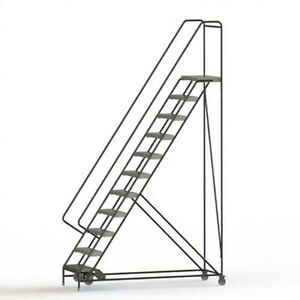 New 11 Step Alum Rolling Ladder 24 w Ribbed Tread 21 d Top Step 32 Handrails