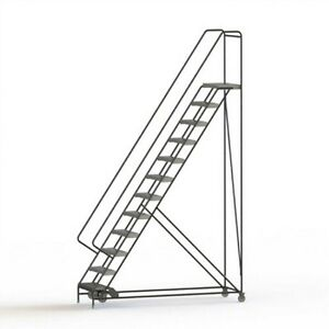New 12 Step Alum Rolling Ladder 24 w Ribbed Tread 28 d Top Step 32 Handrails