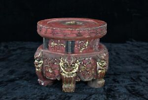 Antique Chinese Red Gilt Wood Carving Altar Stand W Foo Dog Qing 19th C