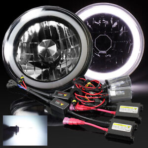 7 Inch Round Black Crystal White Hi power 3d Smd Halo Headlights 6000k Hid Kit