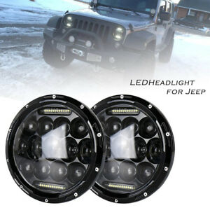 2pcs 7 Inch 150w Round Hi Lo Beam Led Headlights For Jeep Wrangler 97 16 Jk Tj