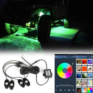 Set Of 4x Rgb Led Rock Lights Wireless Bluetooth Music Flashing Multi Color