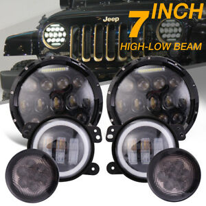 7 Led Headlight Fog Light Halo Light Drl Signal Turn For Jeep Wrangler Jk 07 17