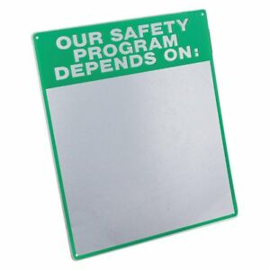 Safety Program Notice Sign Board 19 X 16in White Green Acryl English