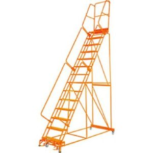 New Perforated 24 w 14 Step Steel Rolling Ladder 21 d Top Step W handrail