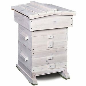 Honey Bee Hive Home Set up Frame Cedar Wood Box With Roof Beekeeping Equipment