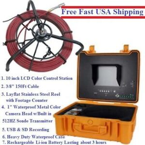 Sewer Drain Pipe 10 Lcd Screen 150ft Cable Inspection Camera 512hz Sonde Usb Sd