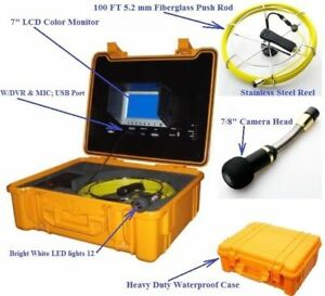 Sewer Drain Pipe 7 Lcd Display Dvr Usb 100ft Cable 7 8 Color Inspection Camera