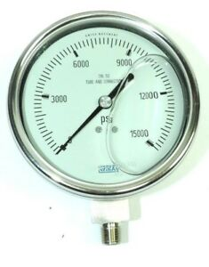 Wika Pressure Gauge Liquid filled Stainless 316l 4 Dial 0 15000 Psi