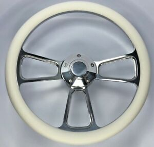 14 Polished Billet Steering Wheel White Half Wrap And Horn Button