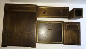 Desk Set Solid Walnut Hyde Park Mass 5 Pieces Made In Usa Vintage