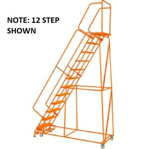 New Perforated 24 w 11 Step Steel Rolling Ladder 14 d Top Step W handrails