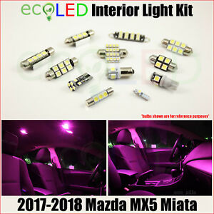 For 2017 2018 Mazda Mx5 Miata Pink Interior Led Light Accessories Package Kit 6x
